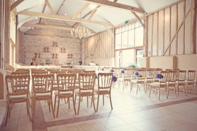 Upwaltham Barns Wedding Reception With Blue Hydrangeas