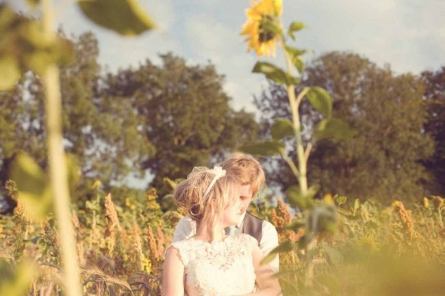 Wedding Portraits in Sunflower Field