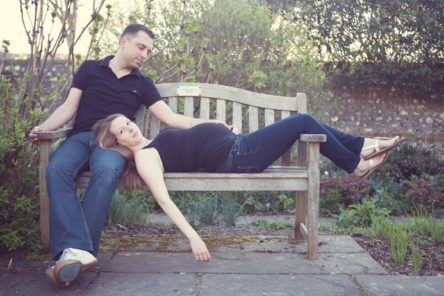 maternity photography lying on bench