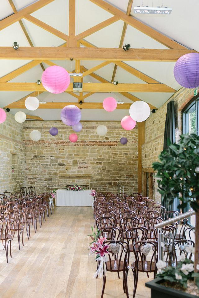 Hendall Manor Barn Wedding Pink, Purple, White Hanging Lanterns Decor